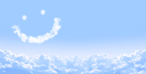 Horizontal banner with smile from cloud and white clouds in a blue sky.